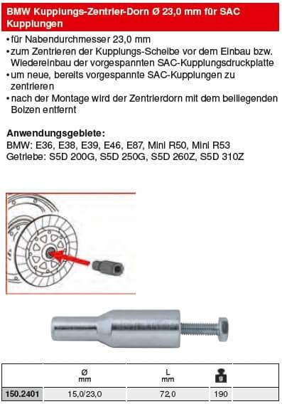 KS Tools BMW Kupplungs-Zentrier-Dorn Ø 23,0 mm für SAC - 150.2401