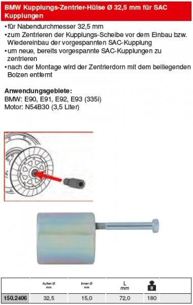 KS Tools BMW Kupplungs-Zentrier-Dorn Ø 32,5 mm für SAC - 150.2406